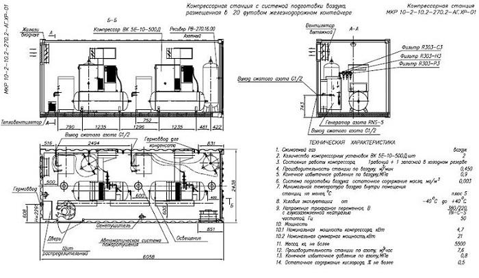 Схема компрессорная установка